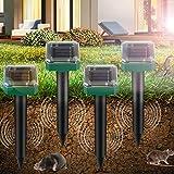 Vivibel 4 Stück Solar Maulwurfabwehr, Ultrasonic Solar Maulwurfschreck, Maulwurfbekämpfung, Wühlmausschreck, Mole Repellent, Schädlingsbekämpfung mit IP56 für Den Garten