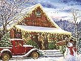 Bdwdhj Diamond Painting,5D Full Diamond Painting Weihnachtsbild Von Strass, Diamantstickerei Winterlandschaft, Auto Urlaubsgeschenk-50X70Cm,Weihnachtsdeko,Malen Nach Zahlen