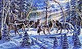 NNNGTAOCER Puzzle 500 Teile Puzzles Für Hölzern Erwachsene DIY 3D Wölfe Im Schnee Im Wald Personalisierung Erwachsener Spiel Kind Spielzeug Kreatives Geschenk 52X38Cm