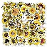 BLOUR 50PCS New Sunflower Stickers Kleine frische PVC-Aufkleber DIY Scrapbook Laptop Gitarre Koffer Gelb Vsco Girl Toy Graffiti Sticker