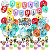 One Piece Geburtstag Dekoration Set,One PieceParty Supplies,Kompakt Happy Birthday Deko Spirale Partykette Luftballon One Piece für Kinder Partydekorationen