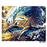 HJVBLCR DIY öLgemäLde Malen Nach Zahlen Welle Delfine Muster Erwachsene Kinder Malen Nach Zahlen Nummer FüR Home Restaurant Haus Dekor 40x50cm Rahmenlos