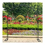 Rosenbogen mit Sockel |Gartenbogen Metall Pergola Spalier |Torbogen Hochzeitsdekoration |Pflanzenständer für Innen/Außen |Unterstützung für verschiedene Kletterpflanzen-Schwarz_L70.8xd15.7xh86.6in.
