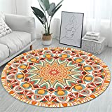RAILONCH Teppiche Mandala Runde, Teppich Bohemian Style Baumwollteppich Washable Teppich für Wohnzimmer Schlafzimmer Kinderzimmer Esszimmer (Stil 9,160cm)