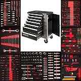 Arebos Werkzeugwagen | 7 kugelgelagerte Schubladen mit Werkzeug | Werkstattwagen mit 4 schwenkbaren Rollen | abschließbar | hochwertiges Werkzeug aus Chrom Vanadium Stahl