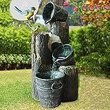 Solar Gartenbrunnen Brunnen Solarbrunnen Pretty-Bird mit Li-Ion-Akku & LED-Licht, Zierbrunnen Wasserfall Gartenleuchte Teichpumpe für Terrasse, Balkon, mit Pump