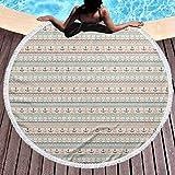 Stranddecke Anker Übergroße Strandtuch Wellenlinien Kleine Punkte und Streifen Grenzmuster Seereise Reise für Strand oder Wandbehang Hellblau Braun Orange (Durchmesser 59 ')