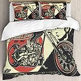 Harley Davidson Bettwäsche 228x264 cm 3 teilig Uni Microfaser Bettbezug mit Kissenbezug 50x75 cm