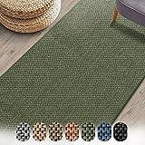 Teppich-Läufer Sabang   Sisaloptik   Wohnteppich oder Läufer   Erhältlich in vielen Farben & Größen   Langlebig & strapazierfähig (Grün, 80 x 200 cm)