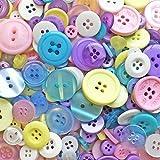 Knopfsortiment aus Acryl / Kunstharz, für Karten und Verzierungen, Pastelltöne, 100 g-Beutel