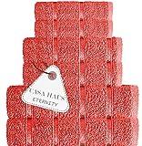 Casa Haus Eternity Premium Qualität Luftdrall Baumwolle 600 GSM - 6 Stück Handtuch Set- 2 Badetücher, 2 Handtücher 2 Waschlappen, Handtuch-Set,Leb