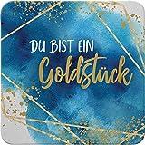 Sheepworld - 46759 - Untersetzer, B21, Du bist EIN Goldstück, Kork, 9,5cm x 9,5