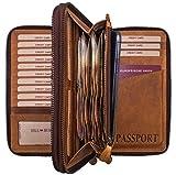 Hill Burry Leder Reisebrieftasche   Dokumententasche - Travel/Wallet aus naturgegerbtem hochwertigem Rindsleder   Organizer/XXL Mappe   Geldbörse Portemonnaie Portmonee (Braun)