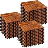 STILISTA® 1m² oder 3m² Holzfliesen aus Akazienholz Mosaik 4x4 11 Stück oder 33 Stück 30x30 cm Fliese Balkonfliesen Terrassenfliesen Gartenfliesen für Garten Terrasse Balk