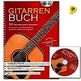 Gitarrenbuch - 50 weltbekannte Melodien für Konzert- oder Westerngitarre - - leicht bis mittelschwer arrangiert - Notenbuch mit CD und Dunlop Plek - HH1039 4026929920003