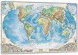 J.Bauer Karten Physische Weltkarte mit Flaggen, 220x144 cm, deutsch