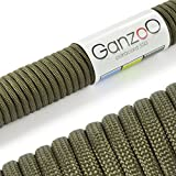 Ganzoo Paracord 550 Seil Für Armband, Leine, Halsband, Nylon-Seil 30 Meter, Army-Grün