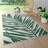 Paco Home In- & Outdoor Teppich Palmen-Muster Terrasse Balkon Flachgewebe Grün Beige, Grösse:100x200