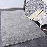 VIMODA Teppich Wohnzimmer in Hell-Grau Flauschig Microfaser Dicht gewebt-Weich, Maße:80x150