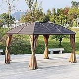 Terrasse Pavillon Hardtop Metalldach Baldachin Party Zelt Garten Outdoor Shelter mit Meshvorhänge Seitenwände