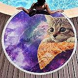 dingjiakemao Badetuch Raum-Katzen Auf Pizza-Großer Runder Strand-Badetuch-Decke Mit Quasten 150Cm