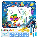 Jooheli Wasser Doodle Matte,100 x 80cm Kinder Zaubertafel Malmatte Mit Wasserstift Wasser Zeichnen Matte Geschenk Kinderspielzeug Lernspielzeug für Jungen Mädchen Kinder