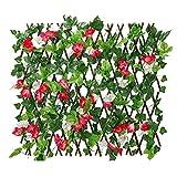 B/S Sichtschutz Ausziehbarer Spalierzaun Künstliche Hecke Garten Sichtschutz Balkon-Sichtschutzhecke Holzzaun Gartenzaun Zaunelement Rankhilfe für Balkon Garten Terrasse