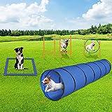 GNEGNIS Agility Set für Hunde mit Hunde Tunnel Sprungring Slalom Stangen Hürde Verstellbare Höhe Quadratische Stehen Box Hundetraining Agility Ausrüstung Set