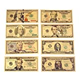 Rosepoem 1 2 5 10 20 50 100 Dollar 24K Gold überzogene Dollar Realistisch Münzsammlung