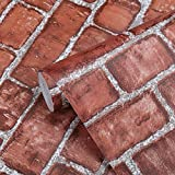 Dekorative Selbstklebend Tapete Vintage rot Wandpapier Ziegel Selbstklebende Wandaufkleber Wohnkultur Wandtattoo Wandaufkleber Sticker 45 * 500cm