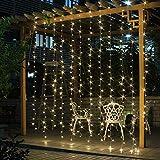 SALCAR LED Lichtervorhang 6 * 3m IP44 600er LED Lichterkette für Wohnzimmer, Garten, Terasse, als TV-Hintergrund usw.- Warmweiß