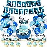 RHNE Schöne Hai-Thema Partyzubehör Geburtstagsflaggen Kucheneinsätze Ballon Set Geburtstagszubehör Dekoration Blauer Kucheneinsatz: 6,3 * 4,9 Zoll