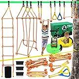 Ninja Warrior Hindernis-Kurse für Kinder, Slackline-Set, 127 cm mit 8 Zubehör – Monkey Bars, Gymnastik Ringe, 68 cm Seilleiter, BrückenHindernisse, Ninja Line Training Equipment für den Garten Outdoor