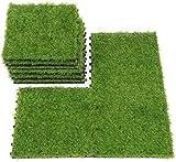 uyoyous 18er Terrassenfliesen Set, Kunstrasen Balkon Fliesen set, Grasfliese Kunststoffrasen Garten-Rasen Fliese für Balkon oder Terrasse Set   Höhe: 25mm   30 x 30 cm   Grün
