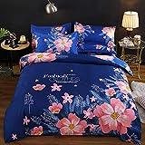 AZSOGOOD Schöne Blumenmuster-Bettdecke-Kissenbezug, gebürstete vierteilige Set von Frühlings- und Herbst-dicken Steppdeckenblechen, dekorieren Sie das Schlafzimmer-150 * 200 cm (3 stücke)_K.