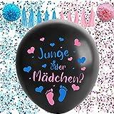 Gender Reveal Ballon, XXL Geschlecht Offenbaren Ballon,Gender Reveal Party Deko,Luftballons Jungen Oder Mädchen,Konfetti Füllung Rosa Blau Offenbaren Ballon,Geschlecht Verkünden Ballon