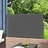 pro.tec Seitenmarkise 160 x 300 cm Grau Witterungsbeständig Sichtschutz Markise Sonnen- & W