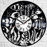 Aquarium Fisch Vinyl Schallplatte Wanduhr Retro Stil Wanduhr leise Home Decor Einzigartige Kunst Besonderes Wohnaccessoires Kreatives Persönlichkeit Geschenk
