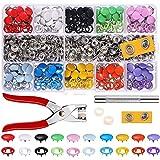 Alritz 200 Sets Druckknöpfe kit mit Zange, Druckknöpfe Set Metall Ring Button Druckknöpfe für Baby Kinderbekleidung Sewing Craft 9,5 mm, 10 Farb