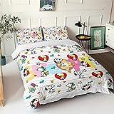 SSWJT Snoopy Bettwäscheset Für Kinder 135 × 200 Cm, Bettbezug Mit 3D-Druckdruck + Kissenbezug 50 × 75 Cm (140×200cm,Snoopy 8)