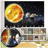 GREAT ART® XXL Poster Kinderzimmer – Sonnensystem Planeten – Wandbild Dekoration Galaxie Cosmos Space Universum All Sterne Galaxy Weltraum Earth Wandposter Fotoposter Bild (140 x 100 cm)
