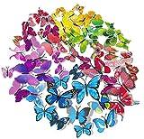 WELLXUNK Schmetterling Wandaufkleber,60 Stück 3D Schmetterling Aufkleber Kunststoff Schmetterling Dekorationen Bunte Schmetterlinge für Wohnung, Raumdekoration Klebepunkten+ Mag