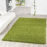 T&T Design Shaggy Teppich Hochflor Langflor Teppiche Wohnzimmer Preishammer versch. Farben, Farbe:Gruen, Größe:60x100