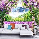 MHSHM 3D Tapeten Wandbild Hintergrundbild Fototapete 3D Lavendelblüten-Rebenbogen-Naturlandschaft Für Wohnzimmer Schlafzimmer Tv Wand Hintergrund Dekoration-(W)450cmx(H)300cm