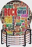 GUVICINIR Untersetzer für Getränke,Retro Rock and Roll Symbol Schriftzug Grunge Distressed Farben damals Sound Music Theme,Absorbierenden Saugfähige Untersetzer mit Halter