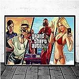Aya611 Videospiel GTA 5 Grand Theft Auto Art Decor Bildqualität Leinwand Malerei Home Decor Poster Wohnzimmer Wanddekoration 60X90cmNoFrame 15