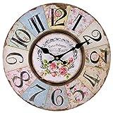 Patchwork-Uhrim Shabby-Chic-Stil mit Blumenmuster, altmodische Wanduhren für Wohnzimmer, Schlafzimmer und Küche, mehrfarbige, niedliche Retro-W