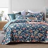 Rubyurphy Tagesdecke Bettüberwurf Steppdecke Bettdecke,Steppdecke im Landhausstil aus Baumwolle mit Kissenbezug, 3 Patchworkdecken, leicht zu reinigen, blau-31_230x250cm