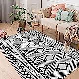 Teppiche waschbarer Teppich Schwarzer und Grauer klassischer geometrischer Design-Wohnzimmerteppich kann gewaschen Werden Spiel Teppich Junge tischkamin Teppich 160*230cm