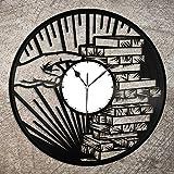 NIGU Jenga Wanduhr aus Vinyl, für Schlafzimmer, als Geschenk für Hochzeit, als Souvenir, für Zuhause, Wohnzimmer, Jahrestag, Dekoration, Vintage-Design, Büro, Bar, Zimmer, Heimdekoration